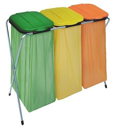 Contenedor porta-bolsas con tapa amarilla, para reciclaje ...