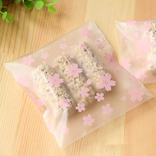 Gift Bags & Wrapping Supplies - 100pcs Lot 3sizes Lovely Pink Cherry Blossoms Cookie Candy Bag Self Adhesive Plastic Bags Baking - Stroller Dirty Play Ornaments Electronics Recycling Almond B