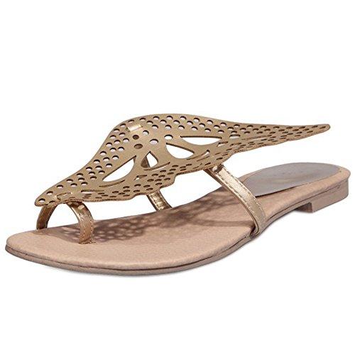 Coolcept Women Summer Clip Toe Sandals Shoes Gold RVRNEaQs