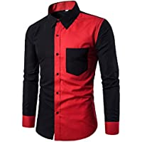 Sumen Men's Button Down Dress Shirts Patchwork Color Block Casual Long Sleeve Blouse