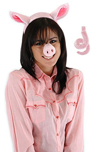 Pig Ears Costume Headband with Pig Nose and Tail by elope
