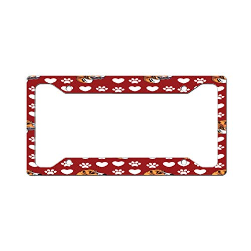 Style In Print Custom License Plate Frame English Foxhound Dog Red Aluminum Cute Car Accessories Wide Top Design Only One Frame