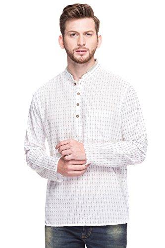Shatranj Men's Mandarin Collar Arrow Print Henley Style Fine Cotton Kurta Tunic; Off-White; XL by Shatranj