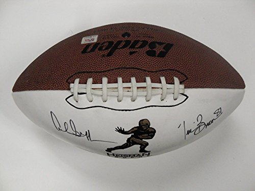 (Archie Griffin Tim Brown Hand Signed Autographed Football White Panel Raiders)