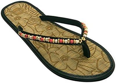 Chanclas picina o Playa Mujer de Meter el Dedo Planta de Paja con Bolitas en la Tira Gioseppo en Negro Talla 41: Amazon.es: Zapatos y complementos