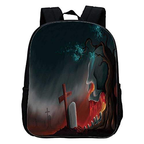 Halloween Fashion Kindergarten Shoulder Bag,Graveyard Cemetery Tree with Evil Skull Tomb Stone Cruciform Creepy Fantastic Decorative For Hiking,One_Size -
