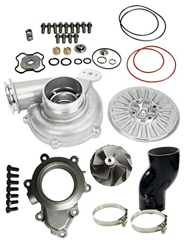GTP38 Turbo Bigger 66/88mm Upgrade/Rebuild Billet Compressor Wheel DIY Upgrade Rebuild Kit For 1999.5 - 2003 Ford Powerstroke 7.3L Diesel Engine (Colver Backing Plate 4 Inch Air Intake Tube -