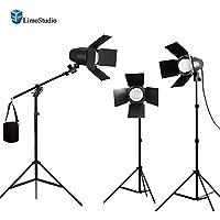 LimoStudio 3 x LED Day Light Bulb Barndoor Light Stand Video Photography Studio Boom Stand Kit, AGG1781V2