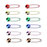 Monrocco Pack of 40 Pcs Assorted Metallic Color Safety Pins with Safety Buckle for DIY Craft Fabric Diapers Garment Repair