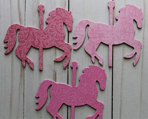 14 Carousel HORSES bubblegum PINK chipboard die cuts 4