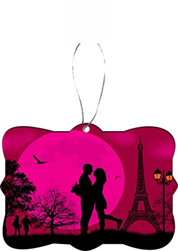 Rikki Knight RKWS-SQORN-44339 Christmas Tree Ornament / Car Rear View Mirror Hanger Romantic Couple in Love on Pink Parisian Background Design by Rikki Knight