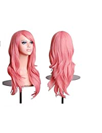 Cool2day 70cm Long Wavy Universal Cosplay Wigs Party Hair for Woman Pink