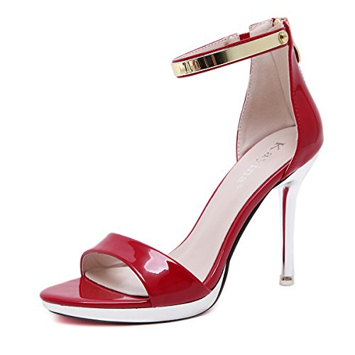 Meeshine Womens Ankle Strap Patent Leather High Heel Platform Dress Sandals (8 B(M) US, Red)