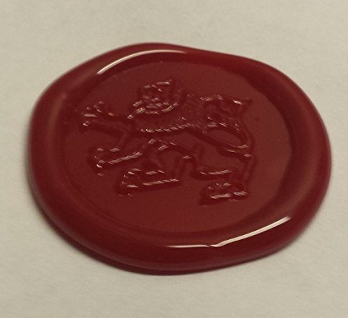 100 pack of Wax Seals: Self adhesive wax seal sticker - Lion1 - Red - 1