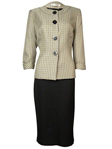 Evan Picone Tweed Contrast Women's Collarless Skirt Suit Beige 6 (Lined Tweed Suit)
