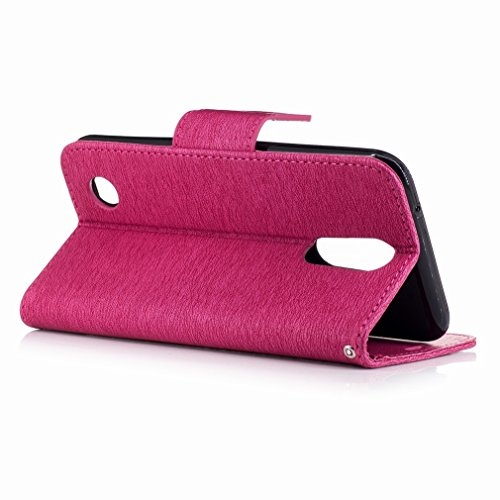 Yiizy LG K10 (2017) / X400 / M250N Funda, La Flor De Mariposa Diseño Solapa Flip Billetera Carcasa Tapa Estuches Premium PU Cuero Cover Cáscara Bumper Protector Slim Piel Shell Case Stand Ranura para  Rosa Roja