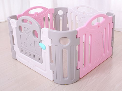 - Child safety gates Baby Fence Play Area Large, Indoor Playard,baby Playpen Activity Center,baby Fence Gate,120120cm (4+4),Safe, Strong And Durable (Color : Pink+white)