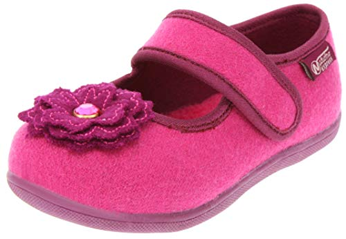 (Naturino Express Kids Fiore Girls Slip On Mary Jane Ballet Flat Flower Strap Shoe Loafer Fuschia 12 Little)