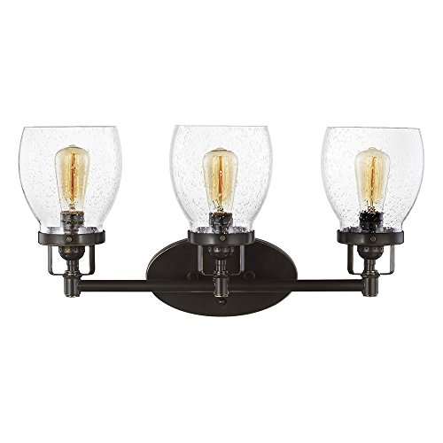 Sea Gull Lighting 4414503-782 Belton Three-Light Bath or Wall Light Fixture with Clear Seeded Glass Shades, Heirloom Bronze Finish ()