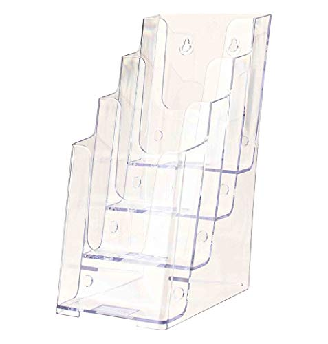 Marketing Holders 4W Brochure Holder Displays Organizer Handout Take One Advertisements Tri-fold Brochures Acrylic Four Pocket Counter Top or Wall Mount Design Tiered Pamphlet Maps Menu