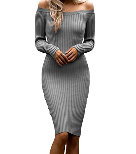 DH-MS Dress Off Shoulder Long Sleeve Rib Knit Sweater Dress(Grey,M)