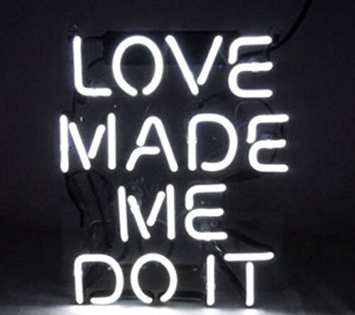 Mirsne neon signs, glass tube neon lights, 16'' by 16'' inch Love Made Me Do it neon signs bar, the best neon sign custom supplied for a wide range of personal uses.