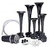 Zone Tech 12V 5 Trumpet Dixie Air Horn - Premium Quality 5 Black Trumpet Air Horn + Compressor Super Loud 125db