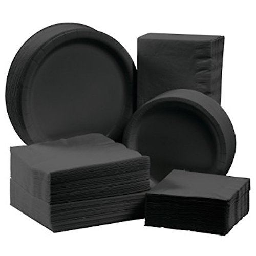 Creative Converting Touch of Color Big Value Deluxe Tableware Kit Paper Plates and Napkins for 150 Guests, Black by Creative Converting