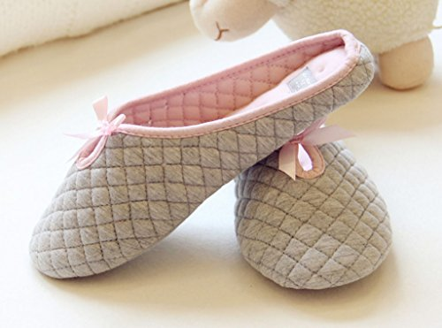 Maybest Womens Girls Autum Winter Cute Bow Decoration Round Toe Indoor Non-skid Slippers Gray 72cctV