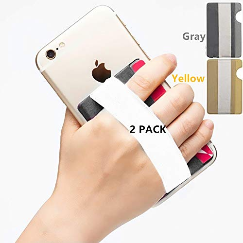 YMHML Phone Grip Card Holder for Back of Phone, Credit Card Holder Stick-On Wallet by 3M Self Adhesive Safety Finger Strap for Cell Phone Android and iPhone Pocket Pouch with Band 2 PCs (Gray+Yellow)