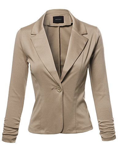 Awesome21 Stretchy Peak Lapel 3/4 Shirring Sleeve One Button Knit Blazer Khaki Size - Blazer Brown