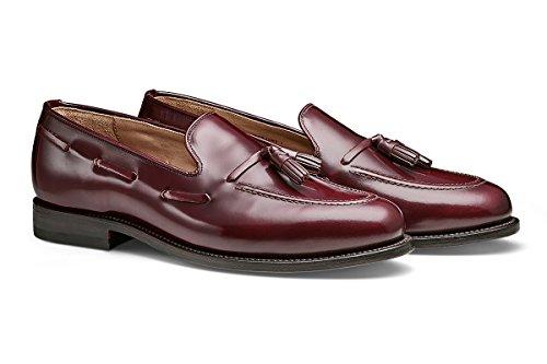 Burgundy Leather Loafers Shoes - MORAL CODE Men's Leather Tassle Loafer Shoe Foster Burgundy Leather 9.5 M US Men