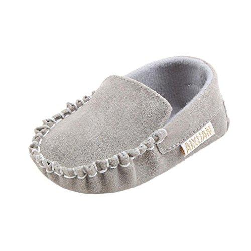 bescita Baby Mädchen Doppel Velours Weiche Sohle Schuh Weiche Schuhe Flats Schuhe (12, Grau)