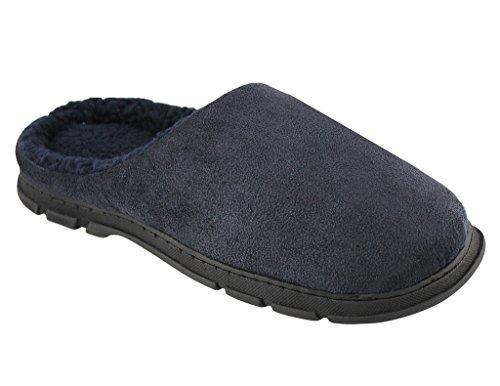 Ciabatte Da Uomo Basic Open Back Con Caldo Fodera In Pile Blu Scuro