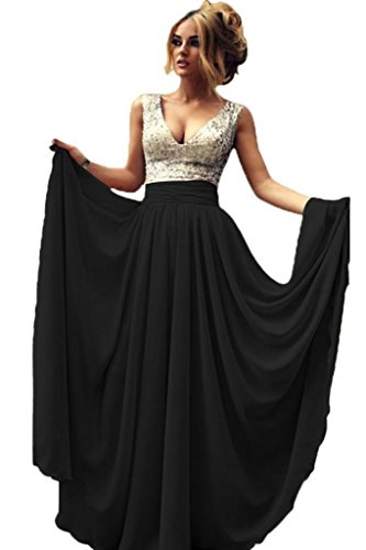 Designer Prom Evening Ball Gown - G Marry Women's Deep V Neck Sequins Long Prom Dress Ball Gown Size 10 Black