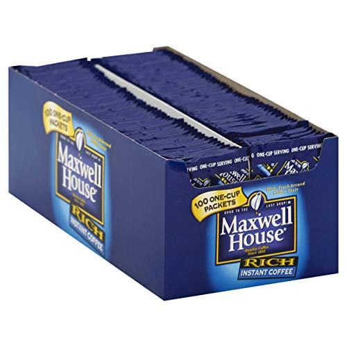 Maxwell House Instant Coffee - 100 single serve envelopes per box, 5 boxes per case