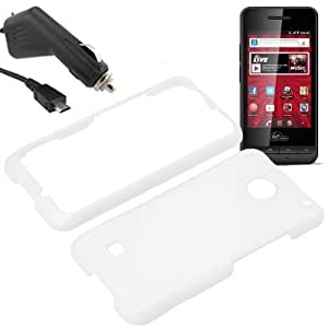 Eagle Hard Shield Shell Cover Snap On Case for Virgin Mobile ZTE Chaser WI921 + Car Charger-White