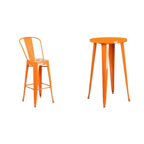 Flash Furniture 24'' Round Orange Metal Indoor-Outdoor Bar Table Set with 2 Cafe Stools ()