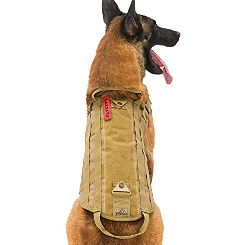 LAISATU Tactical Service Dog Vest - K9 Military Dog Harness with Dual Handles - Outdoor Dog Utility Vest with MOLLE Webbing for Training Walking Camping (M, Tan)