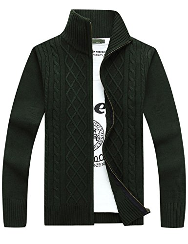 Yeokou Men's Business Casual Solid Color Stand Collar Full Zip Cardigan Sweaters