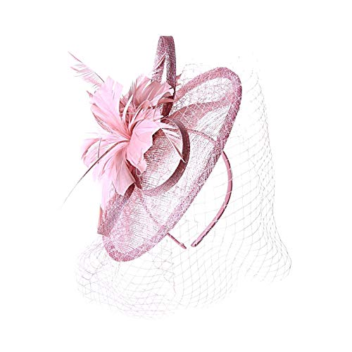 Large Feather and Looped Ribbon Net Veil Sinamay Fascinator Hat Dusty ()