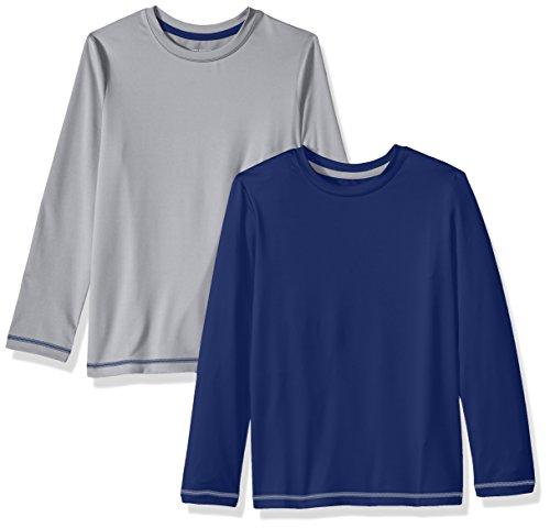 Amazon Essentials Big Boys' 2-Pack Long-Sleeve Basic Active Tee, Blue Depths/Alloy, Large ()