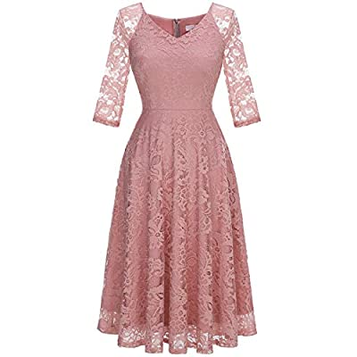 Dressystar Long-Sleeve A-Line Lace Bridesmaid Dress Midi for Wedding Formal Party: Clothing