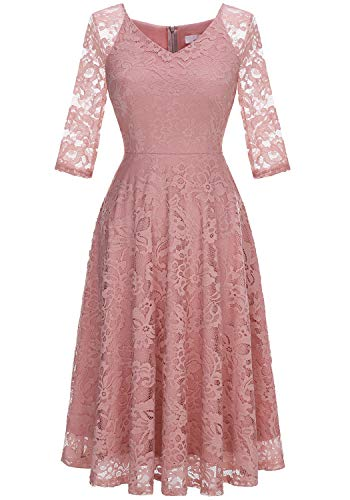 Dressystar Long-Sleeve A-Line Lace Bridesmaid Dress Midi for Wedding Formal Party M Blush (Summer Wedding Dresses For Mother Of Groom)