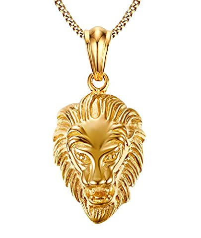 Vnox Mens Stainless Steel Lion Head Pendant Necklace,Gold Plated,Free Chain