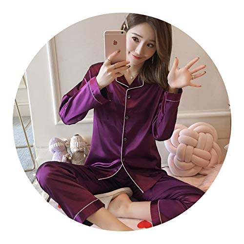 Silk Pajamas for Woman Leisure Ma'am Home Furnishing Clothes Girl Casual Long Sleeved Sleepwear,806 Costume,L