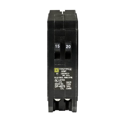 Amp Tandem Circuit Breaker - Square D by Schneider Electric HOMT1520CP Square D Homeline, Single Pole Tandem Circuit Breaker