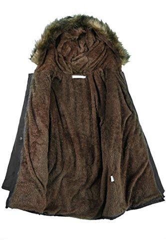 Lonlier Invierno para Lana Negro Parka Largo Capucha Casual con Mujer Abrigo rxafwzqr