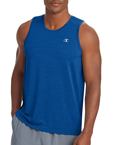 Tank Duo - Champion Men's Double Dry Tank Top with Freshiq, Surf the Web Heather, M