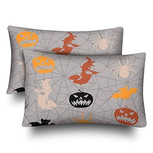 SPXUBZ Cartoon Halloween Seamless Pattern Pumpkin Bat Spider